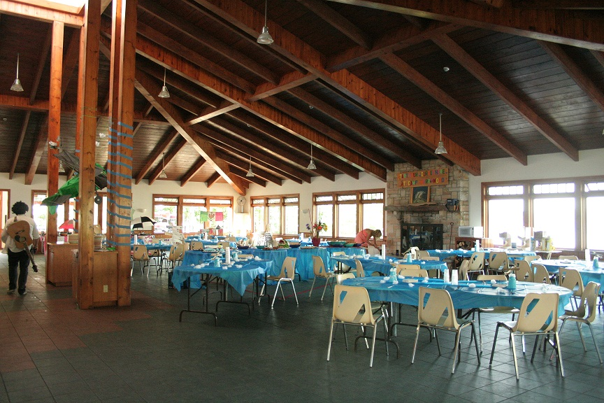 The dining hall ready for the end of session banquet.